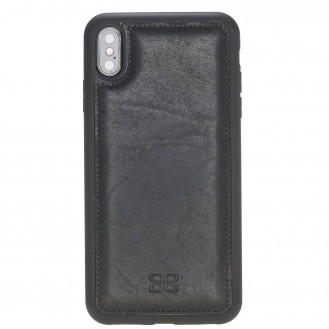 Bouletta Flex Cover Back Leder Case für iPhone XS Max Vegetal Black 1