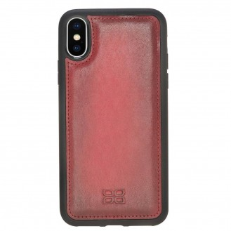 Bouletta Flex Cover Back Leder Case für iPhone XS Max Vegetal Burnished Red