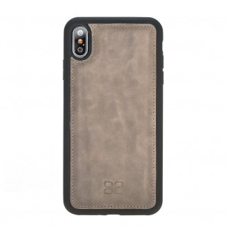 Bouletta Flex Cover Back Leder Case für iPhone XS Max Vegetal Grey