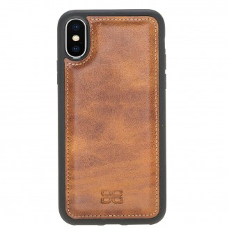 Bouletta Flex Cover Back Leder Case für iPhone XS Max Vegetal Tan with Vein