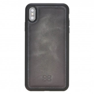 Bouletta Flex Cover Back Leder Case für iPhone XS Max Vessel Burnished Grey