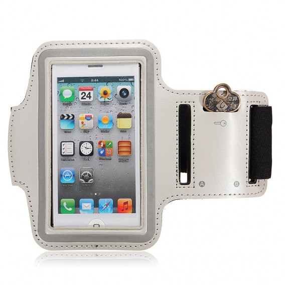 Neopren Jogging Sport Armband Silber Tasche iPhone 5 5S 5C SE