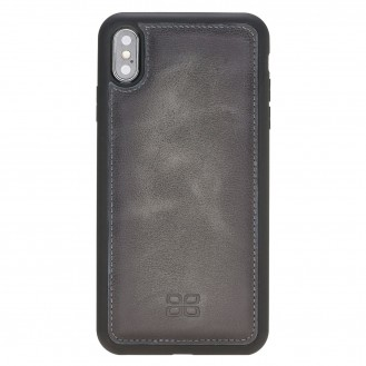 Bouletta Flex Cover Back Leder Case für iPhone XS Max Vesselle Dark Grey