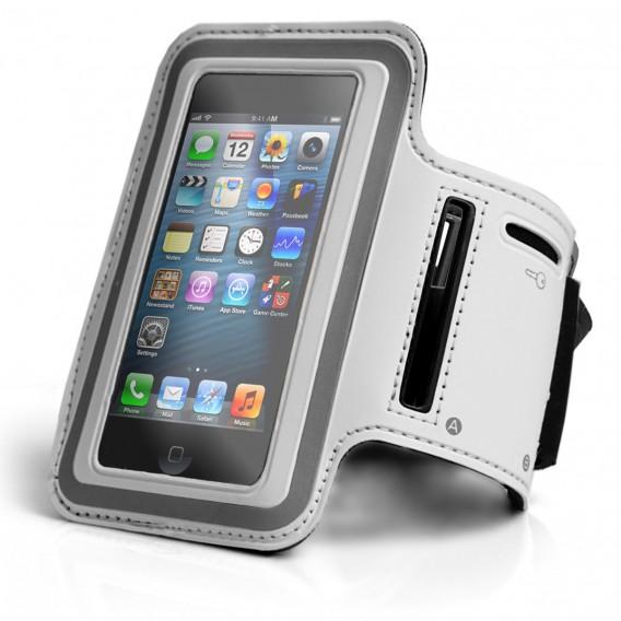 Neopren Jogging Sport Armband Weiss Tasche iPhone 5 5S 5C SE