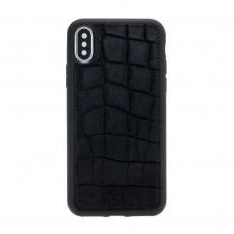 Bouletta Flex Cover Back Leder Case für iPhone XS Max Furry Croco Black