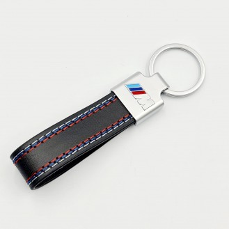 BMW M Power  Schlüsselanhänger Leder Schwarz (Auf Wunsch mit Gravur)