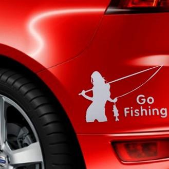 Beauty Go Fishing Styling Reflektierender Autoaufkleber Silber