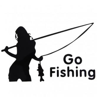 Beauty Go Fishing Styling Reflektierender Autoaufkleber Schwarz