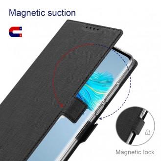 Galaxy S21 Ultra ViLi Stossfeste TPU + PU-Leder-Magnetschnalle Horizontal Flip Case mit Kartenfächern Halter (Schwarz)