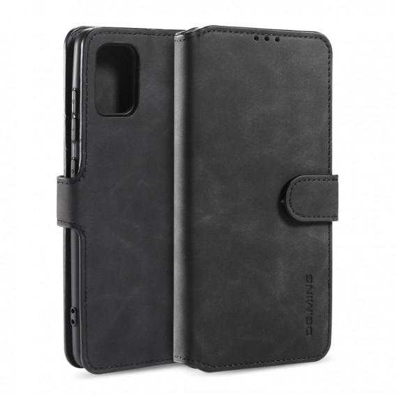 Galaxy A51 Retro Horizontal Flip Case mit Halter & Kartenfächern & Brieftasche (Schwarz)