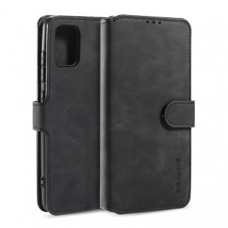 More about Galaxy A51 Retro Horizontal Flip Case mit Halter & Kartenfächern & Brieftasche (Schwarz)