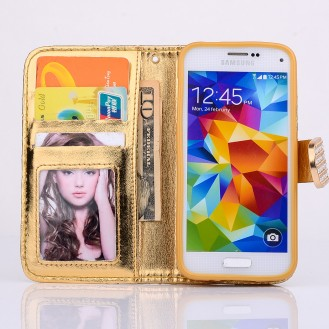 Bling Strass Leder Kreditkarten Etui Galaxy S5 Mini Gold