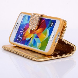 Bling Strass Leder Kreditkarten Etui Galaxy S5 Mini Gold