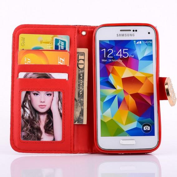 Bling Strass Leder Kreditkarten Etui Galaxy S5 Mini Rot