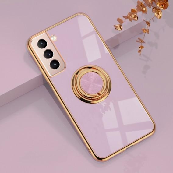 Samsung Galaxy S21 Vollschutz Silikon Schutzhülle mit magnetischem Ringhalter Pink