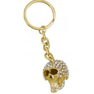 Bling Schlüsselanhänger vergoldet Totenkopf