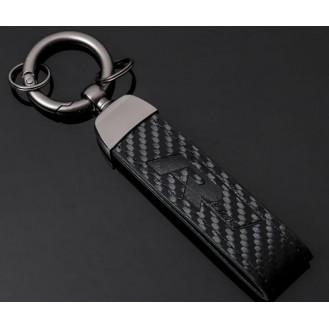 R Line Carbon Schlüsselanhänger Leder Schwarz (Auf Wunsch mit Gravur)