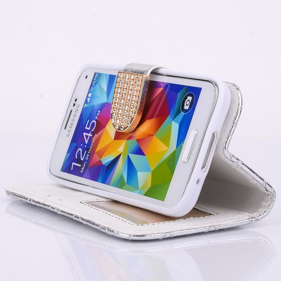 Bling Strass Leder Kreditkarten Etui Galaxy S5 Silber