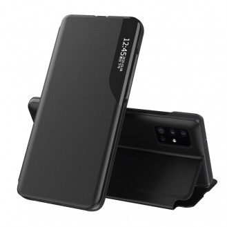 Samsung Galaxy A52 Seitenanzeige Magnetic Stossfest Leder Handyhülle mit Halter (schwarz)