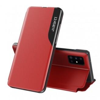 Samsung Galaxy A52 5G / 4G-Seitenanzeige Magnetic Stossfest Leder Handyhülle mit Halter (rot)
