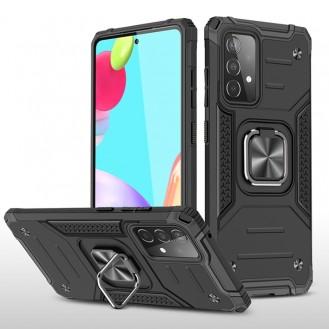 Samsung Galaxy A52 Magnetische Rüstung Stossfest mit Metallringhalter (schwarz)