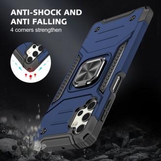 Samsung Galaxy A52 Magnetische Rüstung Stossfest mit Metallringhalter (blau)