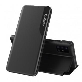 Samsung Galaxy A32 5G / 4G-Seitenanzeige Magnetic Stossfest Leder Handyhülle mit Halter (schwarz)