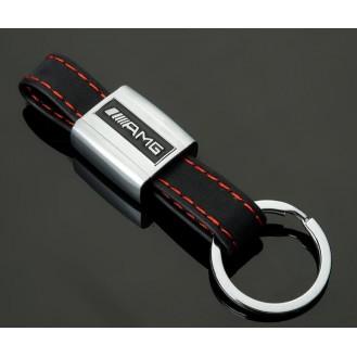 AMG  Schlüsselanhänger Schwarz Leder  (Auf Wunsch mit Gravur)