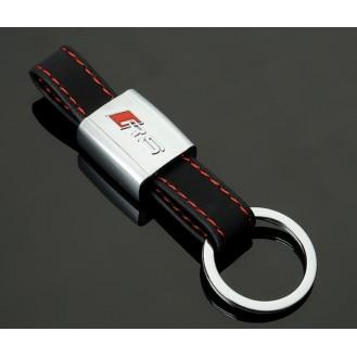 RS Schlüsselanhänger Schwarz Leder  (Auf Wunsch mit Gravur)