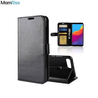 Schwarz Wallet Case Tasche Huawei Y7 Prime 2018