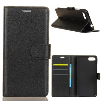 Schwarz Wallet Case Tasche Huawei Honor 10