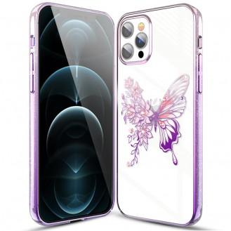 Kingxbar schutzhülle mit original Swarovski-Kristallen verziert Schmetterling iPhone 12 Pro Max rosa