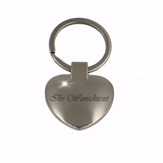 Edelstahl Herz Schlüsselanhänger mit Strass (Auf Wunsch mit Gravur)