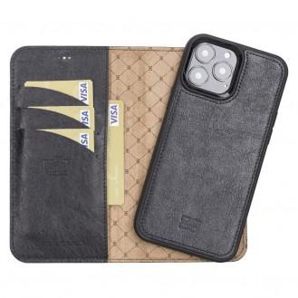 Bouletta Magnetische abnehmbare Handyhülle aus Leder mit RFID-Blocker für iPhone 13 Pro Max Schwarz