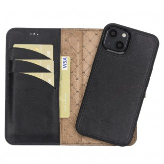 Bouletta Magnetische abnehmbare Handyhülle aus Leder mit RFID-Blocker für iPhone 13 Schwarz