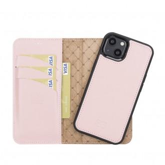 Bouletta Magnetische abnehmbare Handyhülle aus Leder mit RFID-Blocker für iPhone 13 Mini Sand