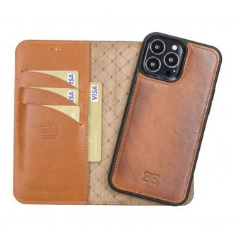 Bouletta Magnetische abnehmbare Handyhülle aus Leder mit RFID-Blocker für iPhone 13 Pro Braun