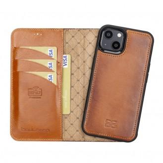 Bouletta Magnetische abnehmbare Handyhülle aus Leder mit RFID-Blocker für iPhone 13 Mini Braun