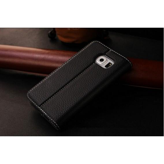 Schwarz Edel Leder Book Tasche Kreditkarten fach Galaxy S6