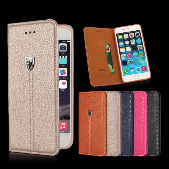 Braun Edel Leder Book Tasche Kreditkarten fach Galaxy S6 Edge