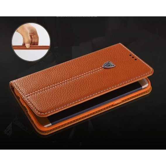 Schwarz Edel Leder Book Tasche Kreditkarten fach Galaxy S6 Edge