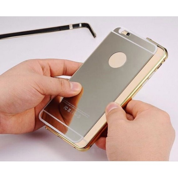 Silber LUXUS Aluminium Metall Spiegel Bumper iphone 6 Plus