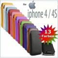 Slim Pull Tab Leder Etui iPhone 4 4S
