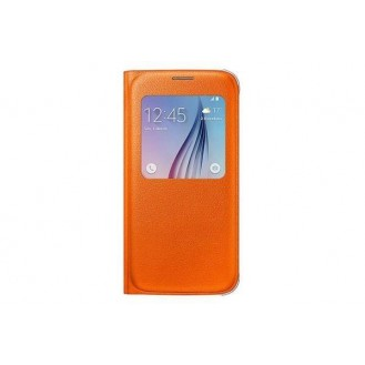 Flip Cover Etui Hülle Leder S-View S6 Orange