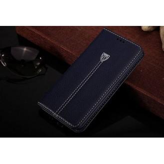 Blau Edel Leder Book Tasche Kreditkarten fach Galaxy S6 Edge Plus