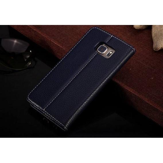 Blau Edel Leder Book Tasche Kreditkarten fach Galaxy S6 Edge