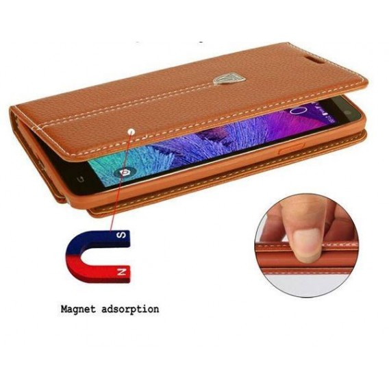 Blau Edel Leder Book Tasche Kreditkarten fach Galaxy Note 4