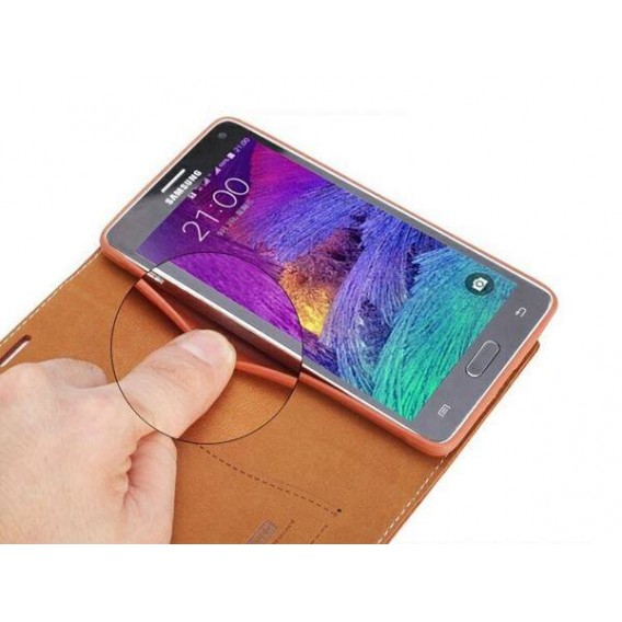 Braun Edel Leder Book Tasche Kreditkarten fach Galaxy Note 4
