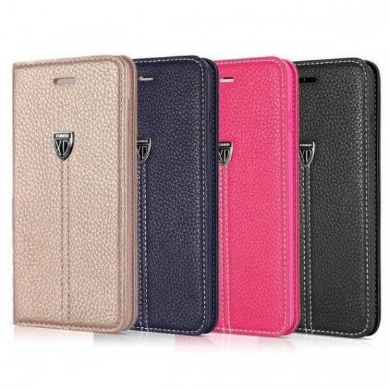 Pink Edel Leder Book Kreditkartefach iPhone 5 / 5S / SE
