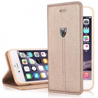 "Gold Edel Leder Book Tasche Kreditkartefach iPhone 6 6S Plus 5.5"""